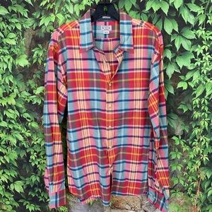 J. CREW Slim Fit Madras Plaid Oxford, XL